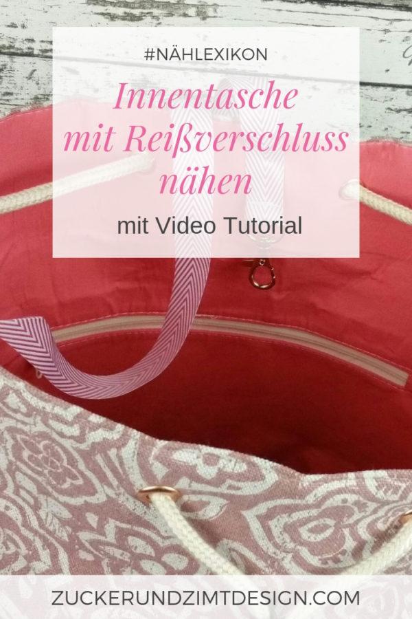 Nähanleitung Innentasche mit Reißverschluss nähen mit Video