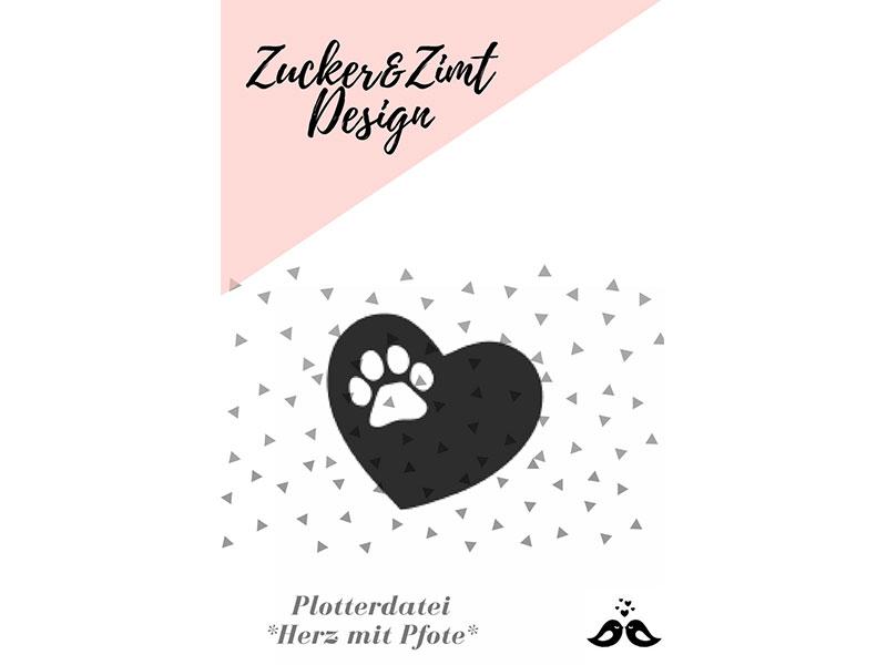 plotterdatei herz mit pfote zucker und zimt design. Black Bedroom Furniture Sets. Home Design Ideas