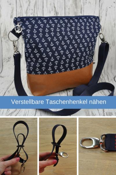 Anleitung verstellbare Taschenhenkel nähen aus Gurtband