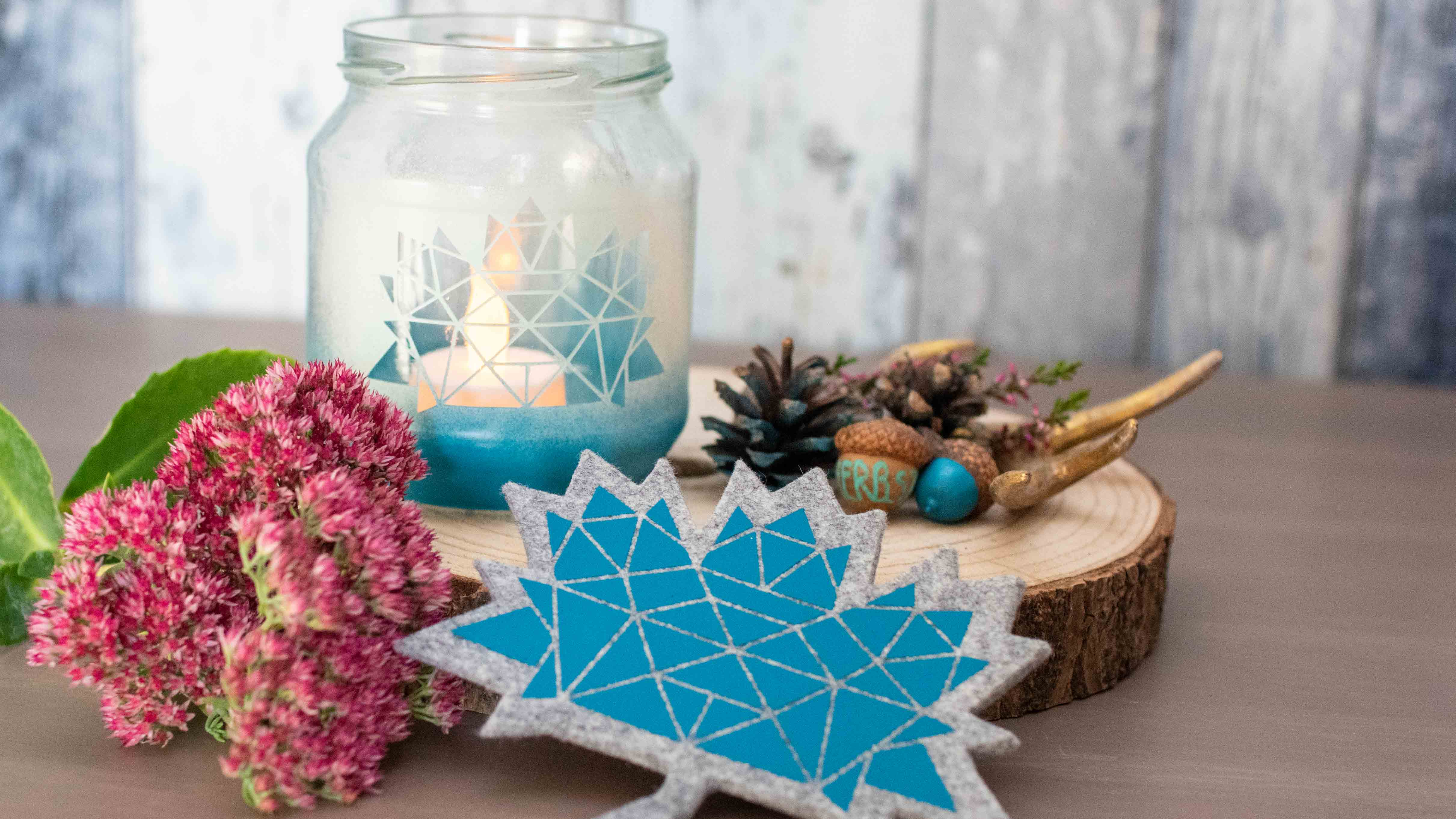 DIY Herbstdeko: Upcycling Windlicht & Filz Untersetzer || mit dem Plotter gestalten