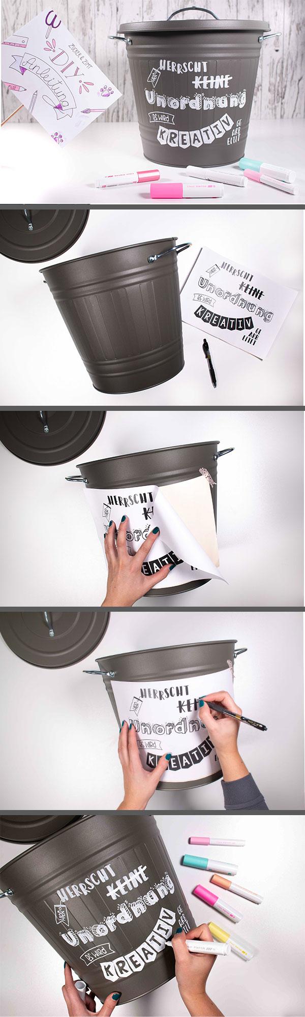 DIY Anleitung Upcyling Mülltonne mit Handlettering