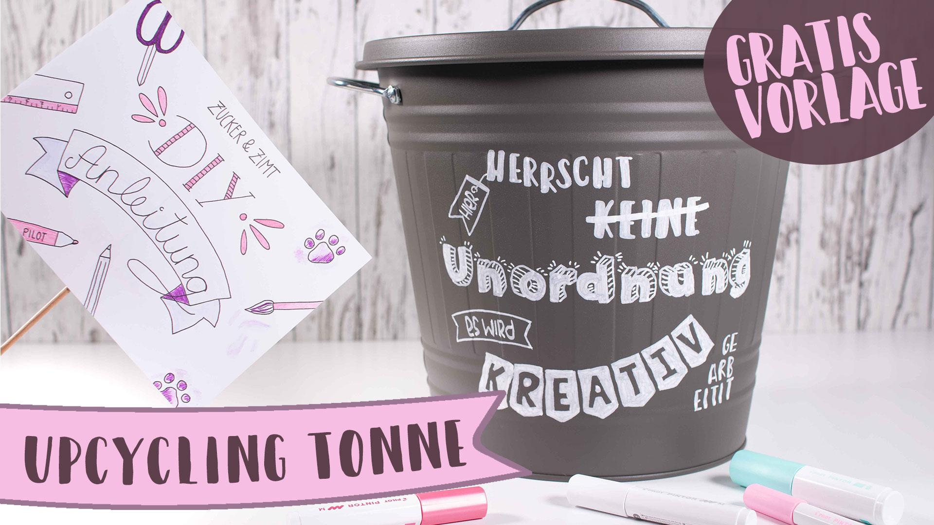 DIY | Mülltonnen Upcycling mit PILOT PINTOR Markern [mit Lettering Vorlagen und Gewinnspiel]