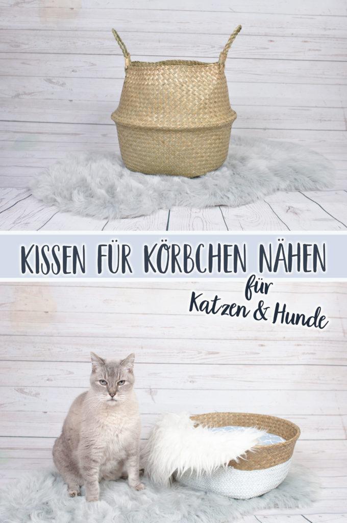 Hundekörbchen und Katzenkörbchen aus Seegraskorb selbermachen mit passender Nähanleitung für Kissen|| www.zuckerundzimtdesign.com