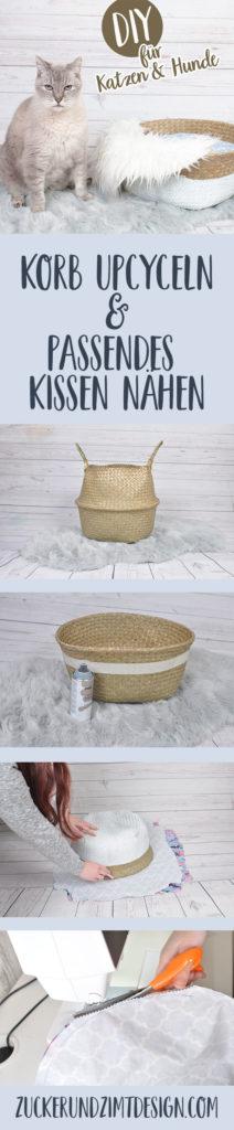 Hundekörbchen und Katzenkörbchen aus Seegraskorb selbermachen mit passender Nähanleitung für Kissen|